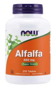 Alfalfa 650 mg 250 Tablets Now Foods